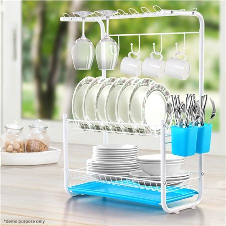 Blue 3-Tier Powder Coated Dish Rack with Drain Board