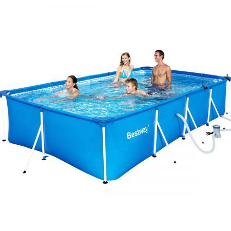 Bestway steel frame above ground swimming pool blue for Cheap above ground pool packages