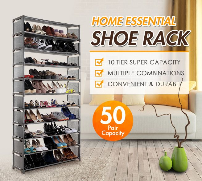 10 Tier Stackable Shoe Rack 50 Pair ...