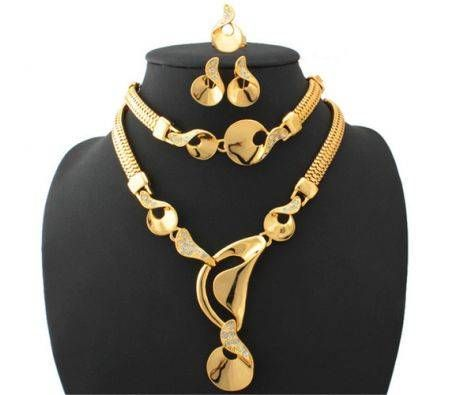 U7 With Gift Box Women's Choker Necklace Bracelet Earrings Ring Costume Set