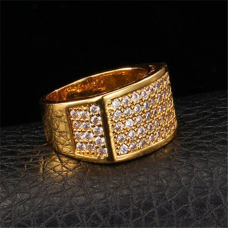 U7 Big Men s Ring 18K Chunky Gold Plated AAA CZ Stone Cubic