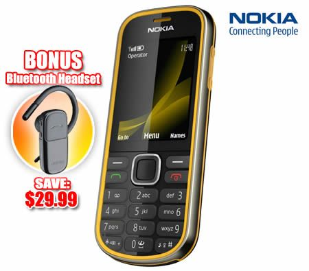 Nokia 3720 Mobile Phone with 2 2-inch TFT 16 7 Million Colour Screen / 2MP  Camera / Music Player & Nokia Bluetooth Headset - Yellow