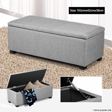 Gas Lift Grey Linen Rectangular Storage Ottoman