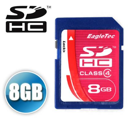 FREE SHIPPING EagleTec 8GB Secure Digital High Capacity SD SDHC Card 8 GB 8G HiSpeed Flash Memory Card  Class 4