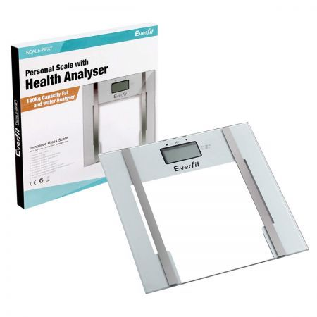 Electronic Digital Body Fat and Hydration Bathroom Glass Scale - White