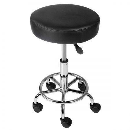 Round PU Swivel Salon Stool - Black