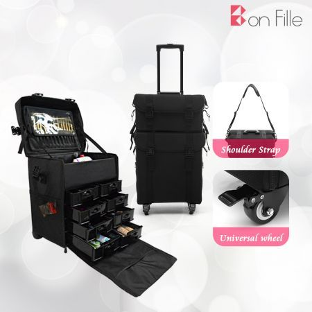 2 in 1 Nylon Professional Rolling Makeup Case