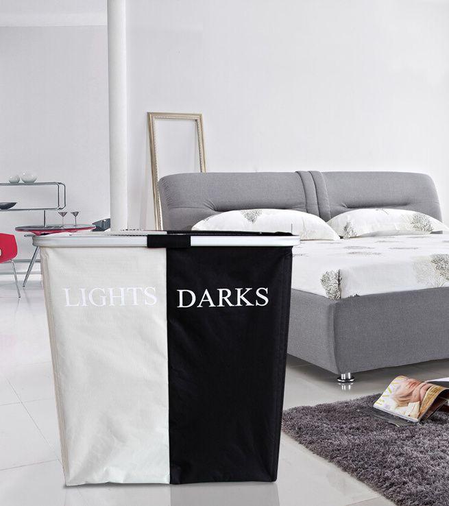 Black White Folding Double Hamper Laundry Basket Crazy Sales