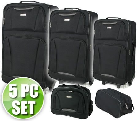 Travel Luggage 5 Piece Set - Two Carry On Travel Bag & 3 Sizes Pull Handle Luggage Trolley