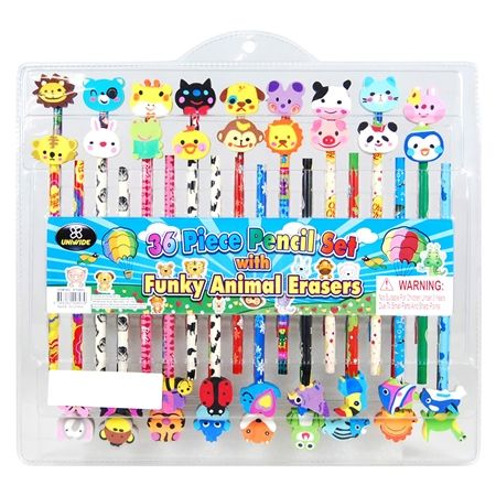 36 Piece Pencil Set with Animal Erasers