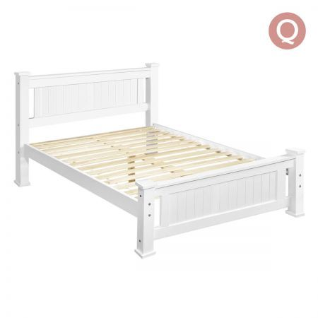 Wooden Bed Frame Pine Wood Queen - White | Crazy Sales