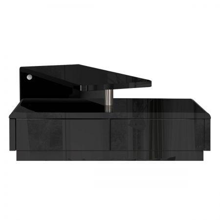 Rotatable L Shape Bench TV Stand High Gloss   Black