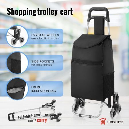6e7f5d91da7 Shopping Trolley Cart Foldable Market Grocery Luggage Basket Bag Wheels  Carts