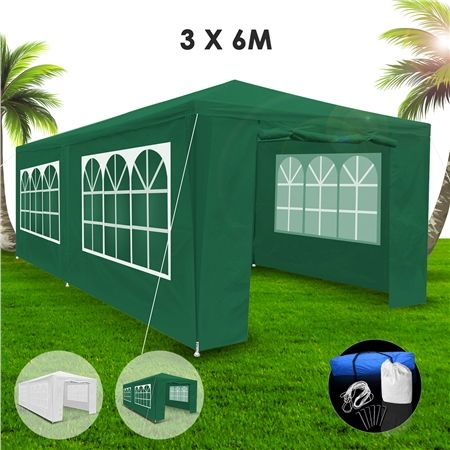 3x6m Green Walled Waterproof Outdoor Gazebo