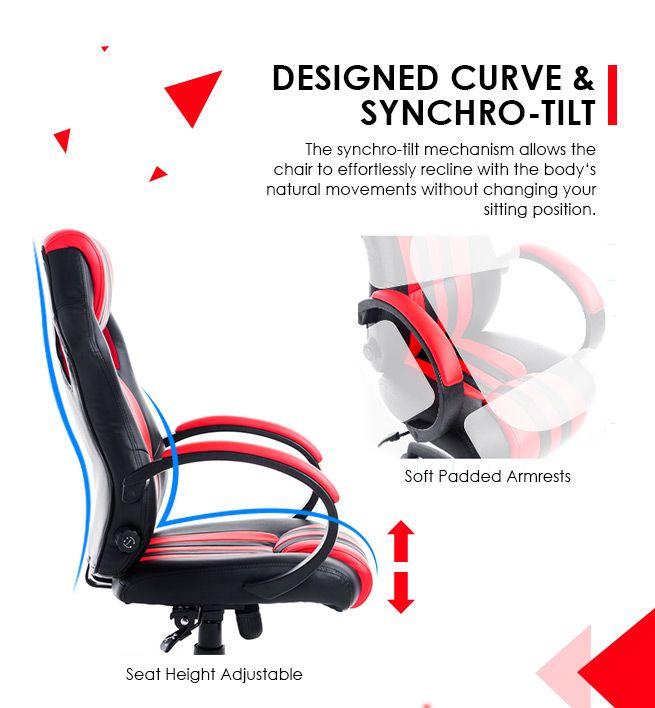 ... Lumbar Support PU Leather Racing Office Computer Chair Home Gaming Chair  ...