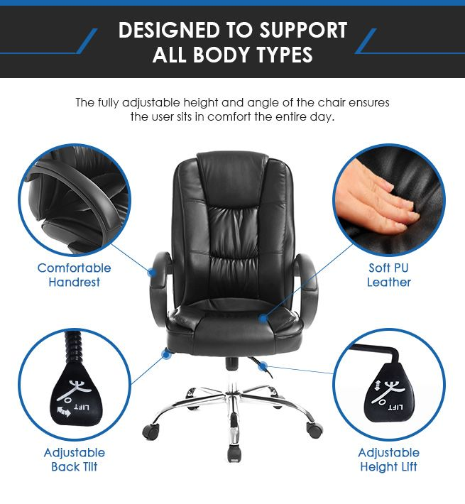 ... Deluxe PU Leather Office Computer Chair Tile Adjustable Home Chair ...