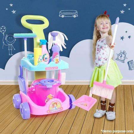 Kids Toy Cleaner Play Set - Fun Cleaning Trolley