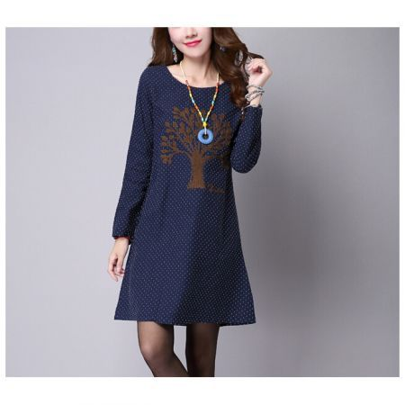 6b335e88e4 Women Plus Size Dot Dress Vintage Tree Print Knee-Length Cotton Linen Dress  Long Sleeve Dress