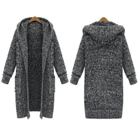 Women Long Sleeved Knitted Thick Sweater Cardigans Crazy