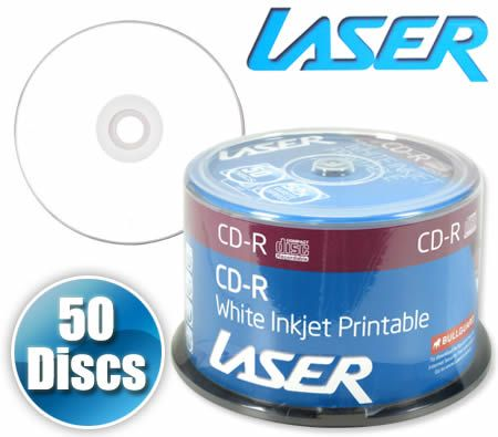 graphic relating to Blank Printable Cds identify Laser 50 Disc CD-R Recordable 52X Blank White Inkjet Printable Media Discs