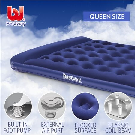 Bestway Queen Inflatable Mattress Built In Pillow Air Bed
