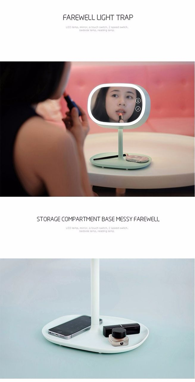 Original Muid 3 In 1 Make Up Mirror Led Touch Lamp Storable Base Cloud Night