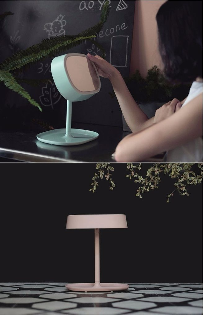 Original Muid 3-In-1 Make Up Mirror+Led Touch Lamp+Storable Base Plate Green