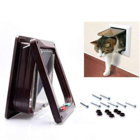 4 ways pet cat puppy dog lock lockable safe flap door gate dog supplies white size s crazy sales - Safe pet dog doors ...