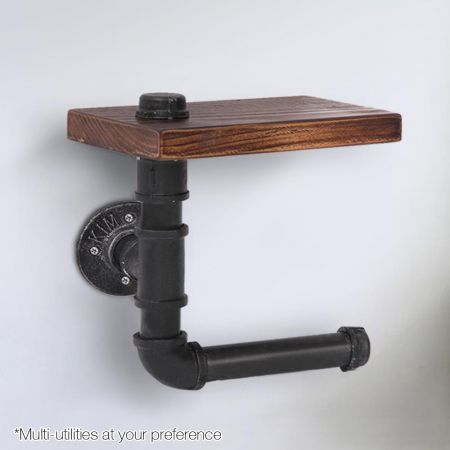 Industrial DIY Bathroom Pipe Shelf and Toilet Paper Holder