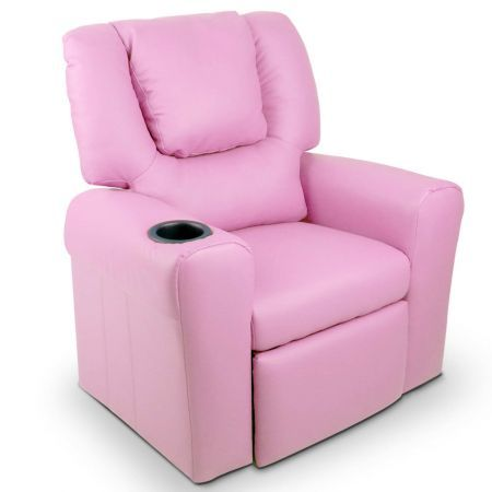 Pink Padded Leather Luxury Kids Recliner Sofa Chair