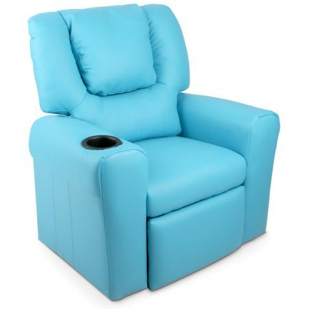 Blue Luxury Kids Recliner Sofa Chair With Drink Holder