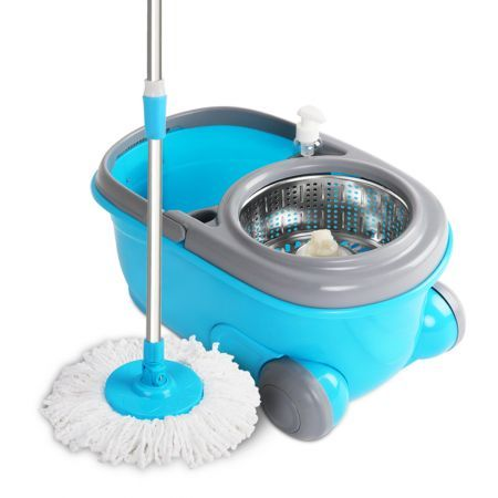 360 Degree Spin Blue Mop & Spin Dry Stainless Steel Bucket with Wheels