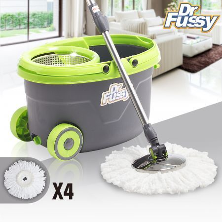 360 Degree Spin Mop & Bucket with Wheels with four Free Mop Heads
