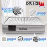 Bestway Queen Inflatable Flocked Mattress Bed Built-in Electric Air Pump