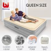 Bestway Queen Memory Foam Mattress Bed Electric Air Pump
