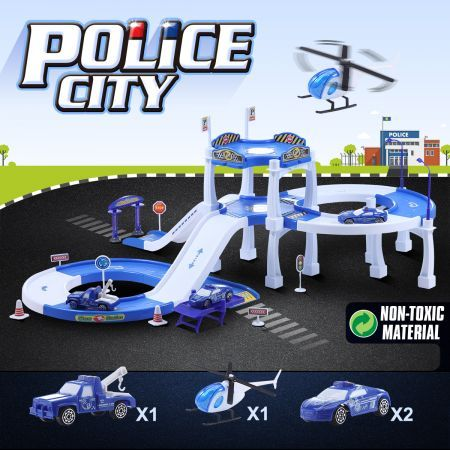 Children's Toy Car & Garage Play Set - Police City