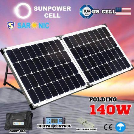 Saronic 12v 140w Folding Solar Panel Kit Camping Caravan