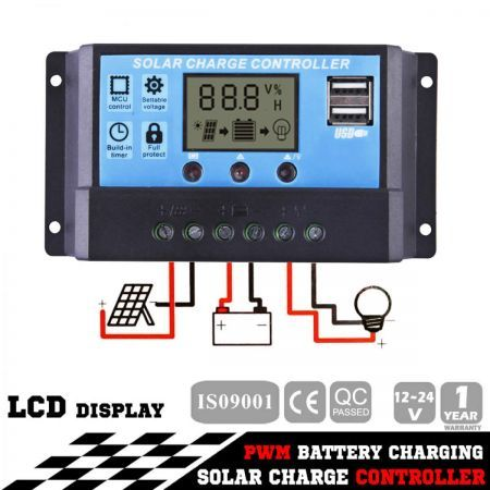 20A 12V-24V LCD Display PWM Solar Panel Regulator Charge Controller