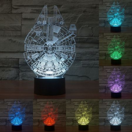 LUD 3D Star War Millennium Falcon Projector Night Bulb USB Powered LED  Lights Desk Lamp