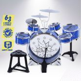 Blue Jazz Drum Kids Play Set of 6 Drum & 3 Cymble Toys