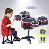 Bright Red Jazz Drum Kids Play Toys Set-5 Drum & 1 Cymble