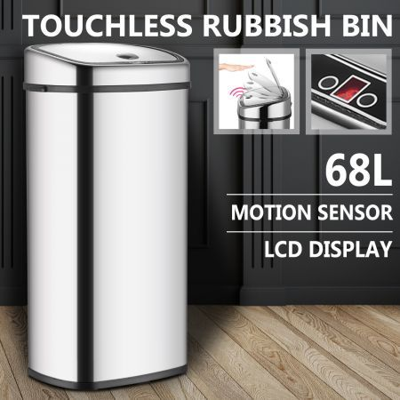 68L Silver Chrome Sensor Operated Touch Less Dust Bin