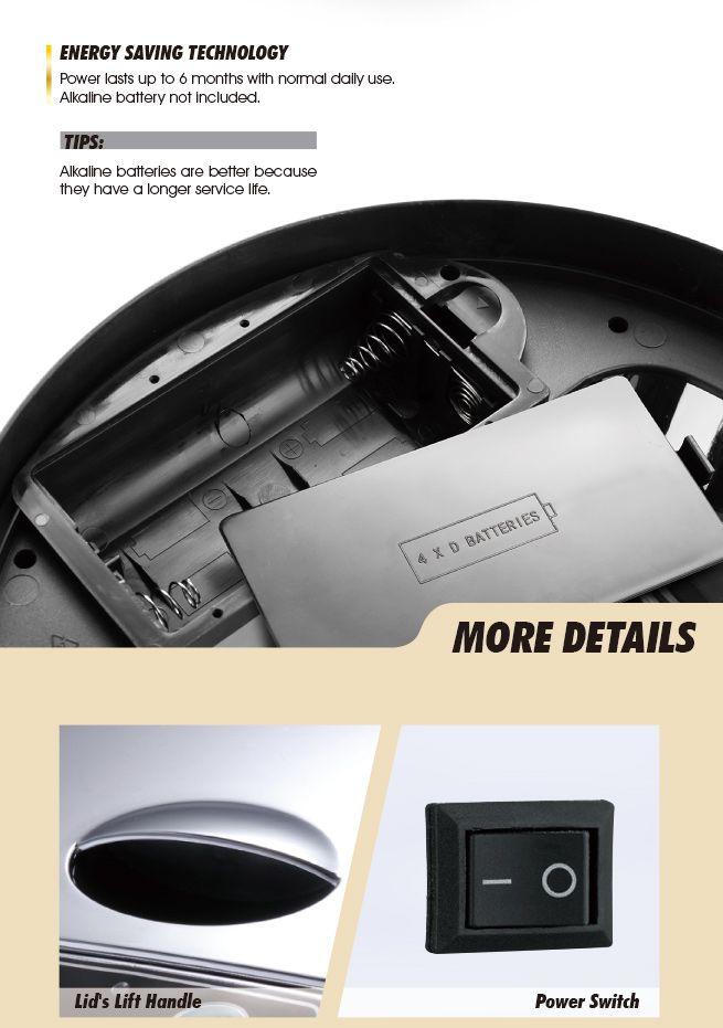 50L Silver Chrome Sensor Powered Waste Bin
