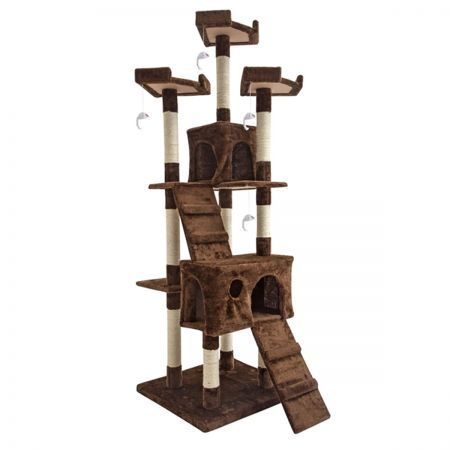 Cat Tree Scratching Post Scratcher Multi Level 180cm Jumbo - Brown