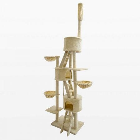 Cat Tree Scratching Post Scratcher Multi Level 260cm Paradise - Beige