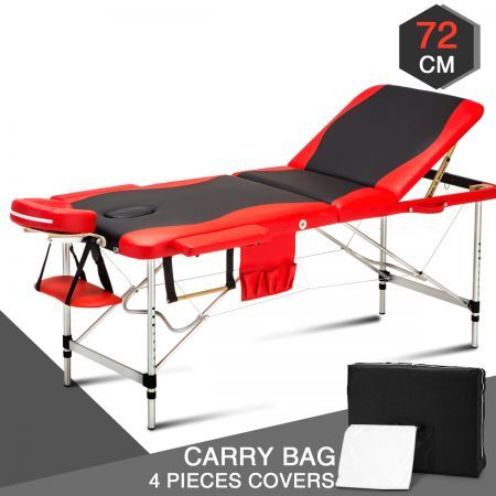 72 CM Black and Red Portable Aluminum Massage Table