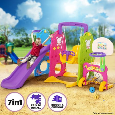 Colorful 7-in-1 Playset with Swing & Slide Toys