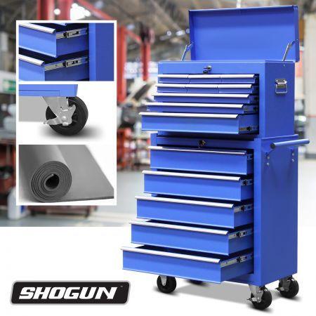 Blue 14 Drawers Storage Tool Box with Ball Bearing Sliders ...