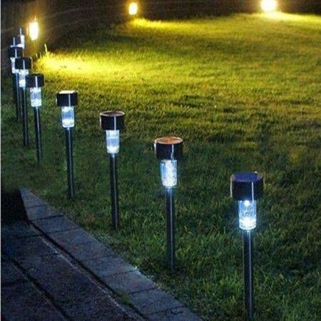 10Pcs/Set Outdoor Stainless Steel Led Solar Power Light Lawn Garden Landscape Path