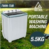 Gecko 5.5kg Twin Tub Portable Washing Machine for Camping
